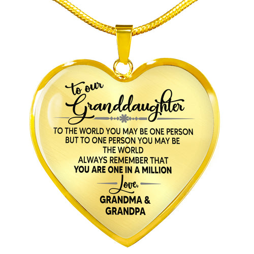 To my Granddaughter Heart Luxury Necklace, sentimental Birthday gift ideas for Granddaughter from Grandma and Grandpa - IPHW296