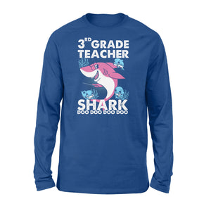Funny Shirts Teacher shark,Gift for Teacher Plus Size, Teacher Shirt, Long Sleeve Shirt -QTS69 Color Black, Blue