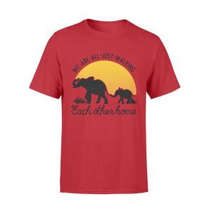 Elephant mom and baby silhouette T shirt quote We are just walking each other home - IPH246