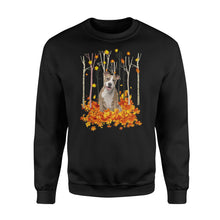 Load image into Gallery viewer, Cute American Staffordshire Terrier dog puppies under the autumn tree fall leaf - beautiful fall season Sweat shirt - Halloween, Thanksgiving, birthday gift ideas for dog mom, dog dad, dog lovers - IPH479
