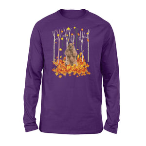 Cute English Cocker Spaniel dog puppies under the autumn tree fall leaf - beautiful fall season Long sleeve shirt - Halloween, Thanksgiving, birthday gift ideas for dog mom, dog dad, dog lovers - IPH445