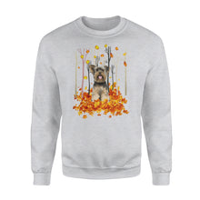Load image into Gallery viewer, Cute White Yorkshire Terrier dog puppies under the autumn tree fall leaf - beautiful fall season Sweat shirt - Halloween, Thanksgiving, birthday gift ideas for dog mom, dog dad, dog lovers - IPH491
