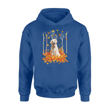 Load image into Gallery viewer, Cute Labrador Retriever dog puppies under the autumn tree fall leaf - beautiful fall season Hoodie shirt - Halloween, Thanksgiving, birthday gift ideas for dog mom, dog dad, dog lovers - IPH489