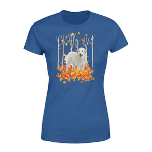 Cute White Great Pyrenees dog puppies under the autumn tree fall leaf - beautiful fall season Woman T-shirt - Halloween, Thanksgiving, birthday gift ideas for dog mom, dog dad, dog lovers - IPH447