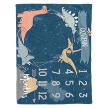 Load image into Gallery viewer, Sobilar Dinosaur Milestone Fleece Blanket