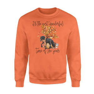 Fall season Black Friesian Horse sweatshirt design - IPH704