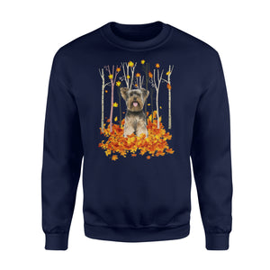 Cute White Yorkshire Terrier dog puppies under the autumn tree fall leaf - beautiful fall season Sweat shirt - Halloween, Thanksgiving, birthday gift ideas for dog mom, dog dad, dog lovers - IPH491