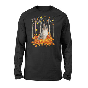Cute Australian Shepherd dog puppies under the autumn tree fall leaf - beautiful fall season Long sleeve shirt - Halloween, Thanksgiving, birthday gift ideas for dog mom, dog dad, dog lovers - IPH480