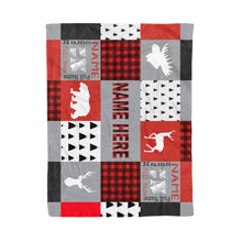 Load image into Gallery viewer, Buffalo Plaid Personalized Baby Fleece Blanket