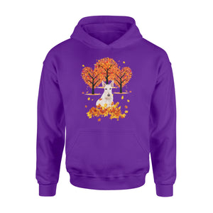 Cute White Scottish Terrier dog puppies under the autumn tree fall leaf - beautiful fall season Hoodie shirt - Halloween, Thanksgiving, birthday gift ideas for dog mom, dog dad, dog lovers - IPH477