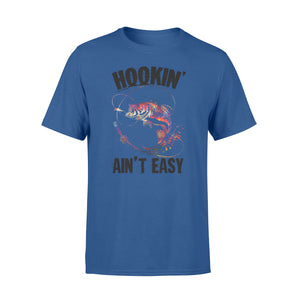 Beautiful colorful Fishing tattoo T-shirt design - Hookin' ain't easy - SPH63