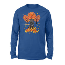 Load image into Gallery viewer, Cute Black Pug dog puppies under the autumn tree fall leaf - beautiful fall season Long sleeve shirt - Halloween, Thanksgiving, birthday gift ideas for dog mom, dog dad, dog lovers - IPH474