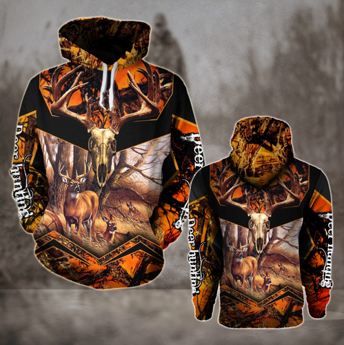Deer Hunting Camo 3D All over print Hoodie Plus Size Orange Black - NQS64