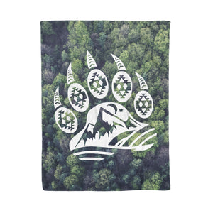 Bear Paw forest camping blanket, campfire fleece blanket - 3DQ91