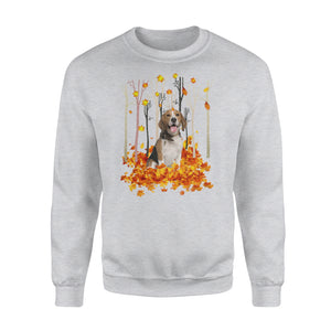 Cute Beagle dog puppies under the autumn tree fall leaf - beautiful fall season Sweat shirt - Halloween, Thanksgiving, birthday gift ideas for dog mom, dog dad, dog lovers - IPH482
