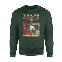 Load image into Gallery viewer, Texas deer hunting personalized gift custom name - Standard Crew Neck Sweatshirt