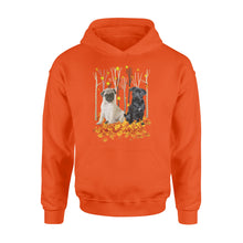 Load image into Gallery viewer, Cute Pugs  dog puppies under the autumn tree fall leaf - beautiful fall season Hoodie shirt - Halloween, Thanksgiving, birthday gift ideas for dog mom, dog dad, dog lovers - IPH427