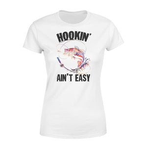 Beautiful colorful Fishing tattoo Women's T-shirt design - Hookin' ain't easy - SPH63