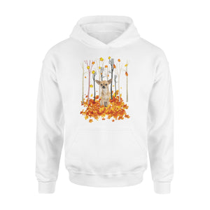 Cute Chihuahua dog puppies under the autumn tree fall leaf - beautiful fall season Hoodie shirt - Halloween, Thanksgiving, birthday gift ideas for dog mom, dog dad, dog lovers - IPH485