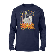 Load image into Gallery viewer, Cute White Great Pyrenees dog puppies under the autumn tree fall leaf - beautiful fall season Long sleeve shirt - Halloween, Thanksgiving, birthday gift ideas for dog mom, dog dad, dog lovers - IPH447