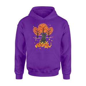Cute Black Scottish Terrier dog puppies under the autumn tree fall leaf - beautiful fall season Hoodie shirt - Halloween, Thanksgiving, birthday gift ideas for dog mom, dog dad, dog lovers - IPH478