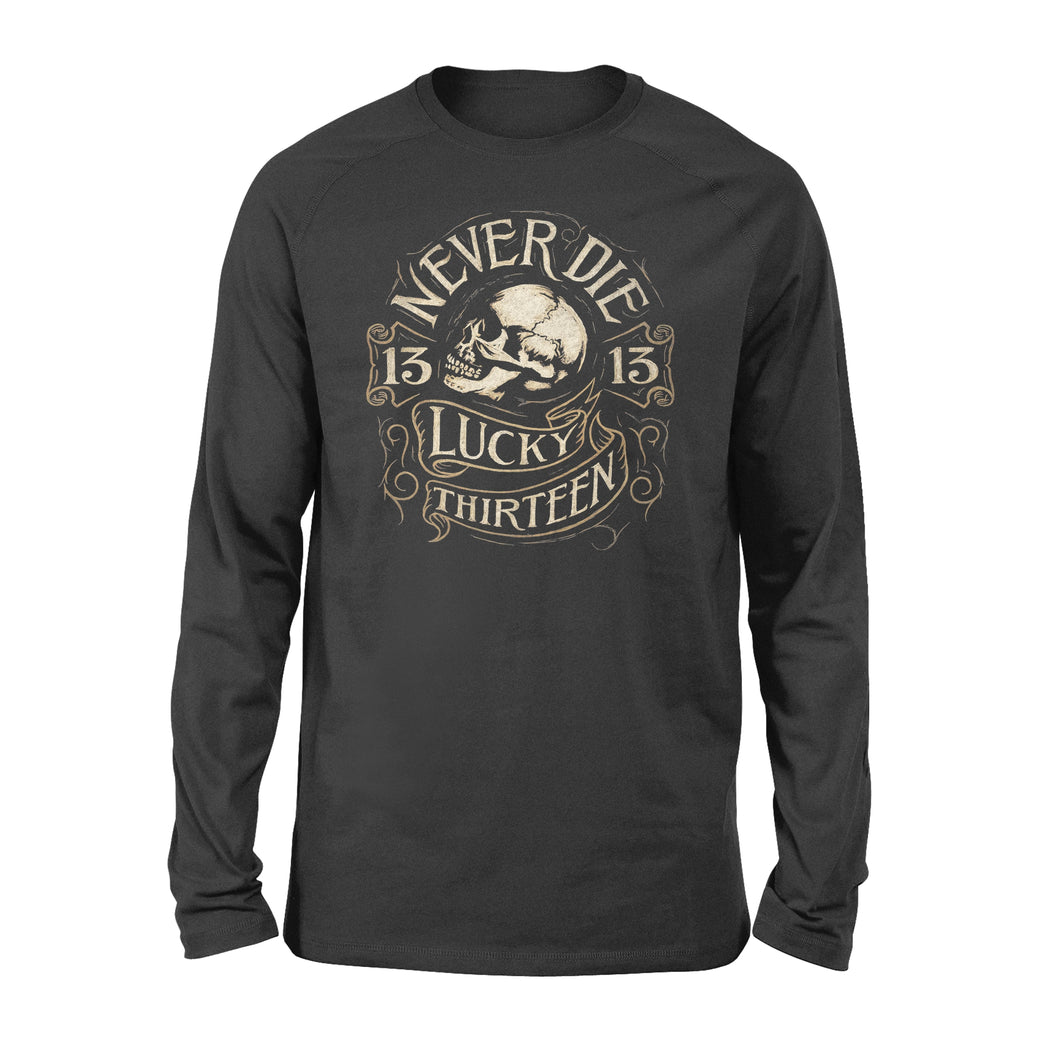LUCKY 13 NEVER DIE SKULL BIKER PUNK TATTOO - Standard Long Sleeve
