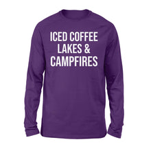 Load image into Gallery viewer, Iced coffee Lakes and Campfires Shirt and Hoodie- QTS34