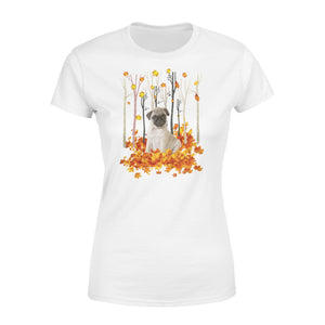 Cute Fawn Pug dog puppies under the autumn tree fall leaf - beautiful fall season Woman T-shirt - Halloween, Thanksgiving, birthday gift ideas for dog mom, dog dad, dog lovers - IPH429