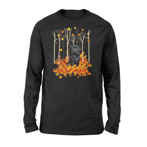 Cute Black Pug dog puppies under the autumn tree fall leaf - beautiful fall season Long sleeve shirt - Halloween, Thanksgiving, birthday gift ideas for dog mom, dog dad, dog lovers - IPH430