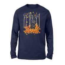 Load image into Gallery viewer, Cute Black Pug dog puppies under the autumn tree fall leaf - beautiful fall season Long sleeve shirt - Halloween, Thanksgiving, birthday gift ideas for dog mom, dog dad, dog lovers - IPH430