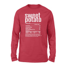 Load image into Gallery viewer, Sweet potato nutritional facts happy thanksgiving funny shirts - Standard Long Sleeve