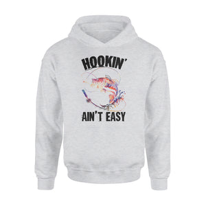 Beautiful colorful Fishing tattoo Hoodie shirt design - Hookin' ain't easy - SPH63