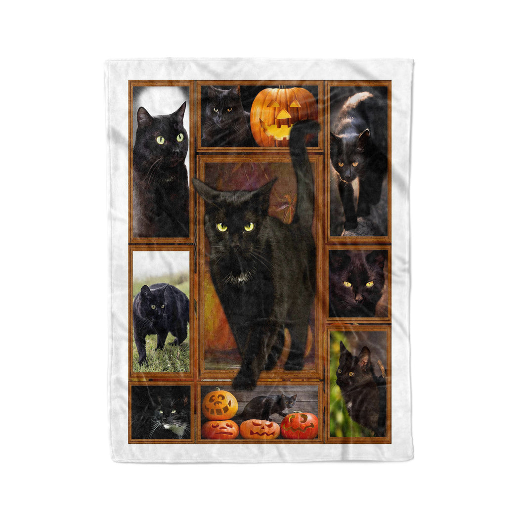 Halloween Black Cat Fleece Blanket DRS - IPH518