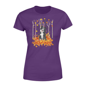 Cute Border Collie dog puppies under the autumn tree fall leaf - beautiful fall season Woman T-shirt - Halloween, Thanksgiving, birthday gift ideas for dog mom, dog dad, dog lovers - IPH483