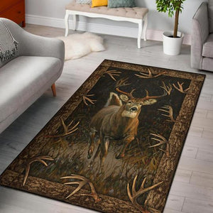 Deer Hunting Living room rugs vintage wood color - NQS48