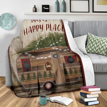 Load image into Gallery viewer, Soft Throw Fleece Blanket camping quotes THIS IS OUR HAPPY PLACE - NQS34