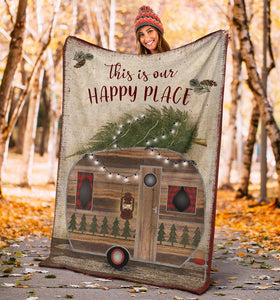 Soft Throw Fleece Blanket camping quotes THIS IS OUR HAPPY PLACE - NQS34