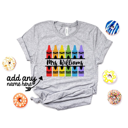 Customize Name Crayon Split Monogram Svg, Teacher Crayon Svg, School Svg, Crayon Shirt Svg, Kindergarten Pre-K - QTS133 - Standard Women's T-shirt