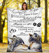 Load image into Gallery viewer, To my wife Wolf Throw Fleece Blanket - IPH259