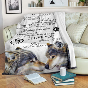 To my wife Thoughtful Wolf Fleece Blanket great gifts ideas - sentimental unique birthday, aniversary, valentine love gifts for wife- IPH259