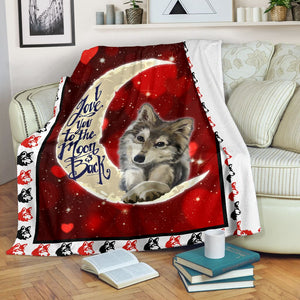I love you to the moon and back Wolf Fleece Blanket - IPH282