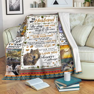 Wolf To my husband Throw Fleece Blanket - IPH301