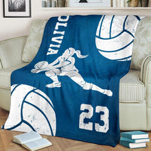 Load image into Gallery viewer, Volleyball blankets personalized name volleyball fleece blanket