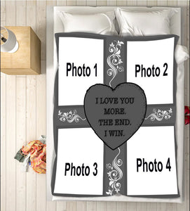 I love you more personalized photo Fleece Blanket