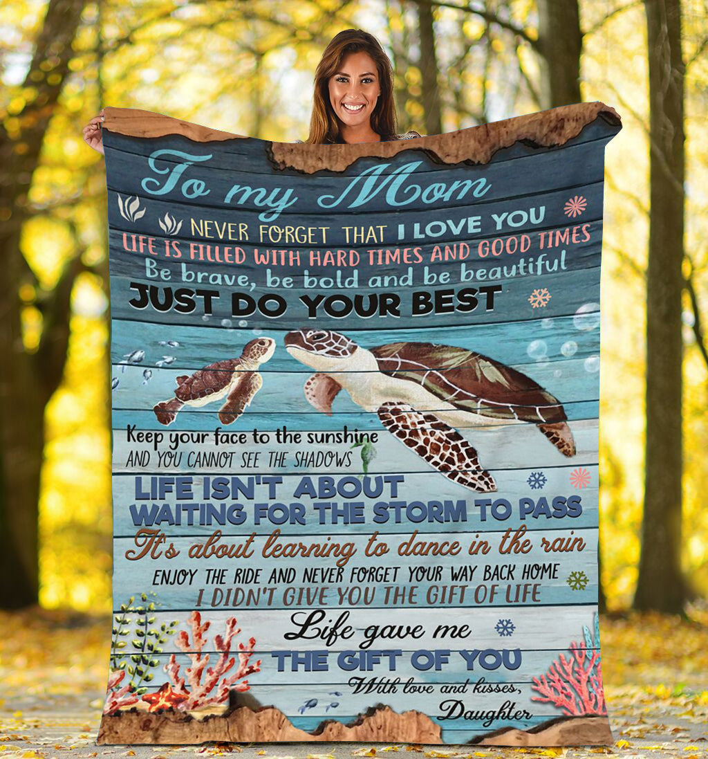 To my mom Thoughtful Fleece Turtle  Blanket great gifts ideas - sentimental unique birthday, mother's day, christmas gift for mom - IPH672