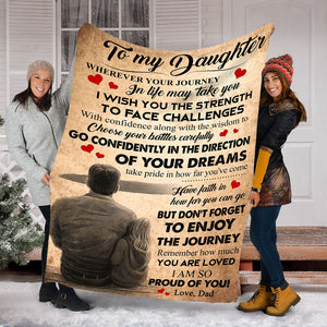 To my daughter Thoughtful Fleece Blanket great gifts ideas - sentimental unique birthday gifts for daughter from dad  - IPH696