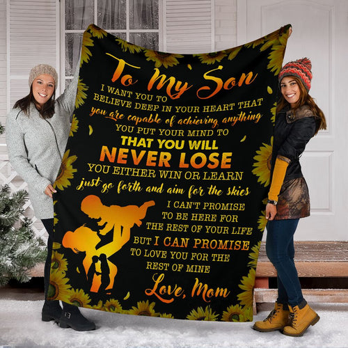 To My Son Throw Fleece Blanket birthday gifts for son - NQS52