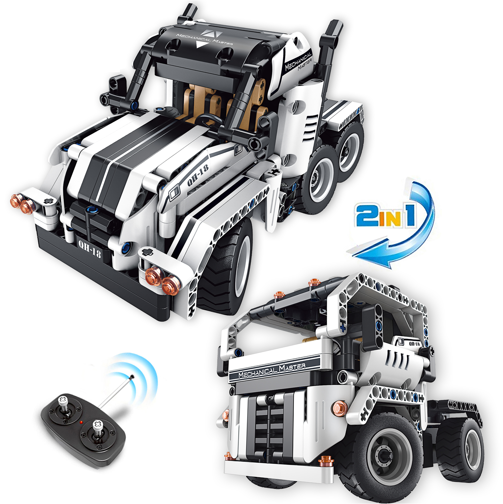 Remote Control White Truck Building Set