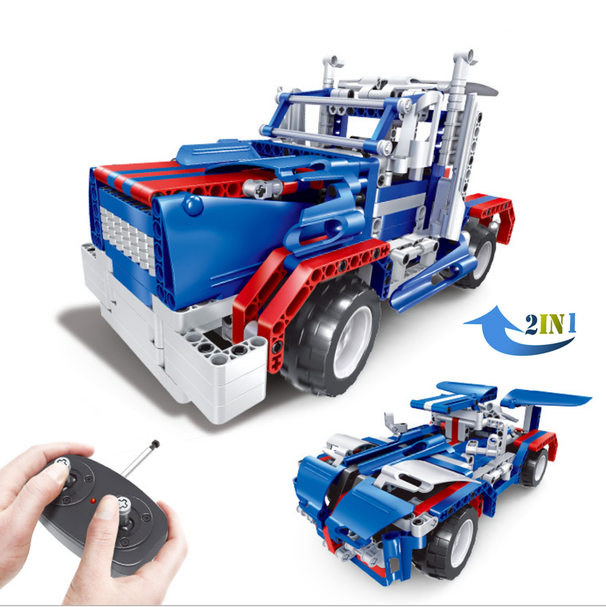 Remote Control Blue Semi-Truck Building Set