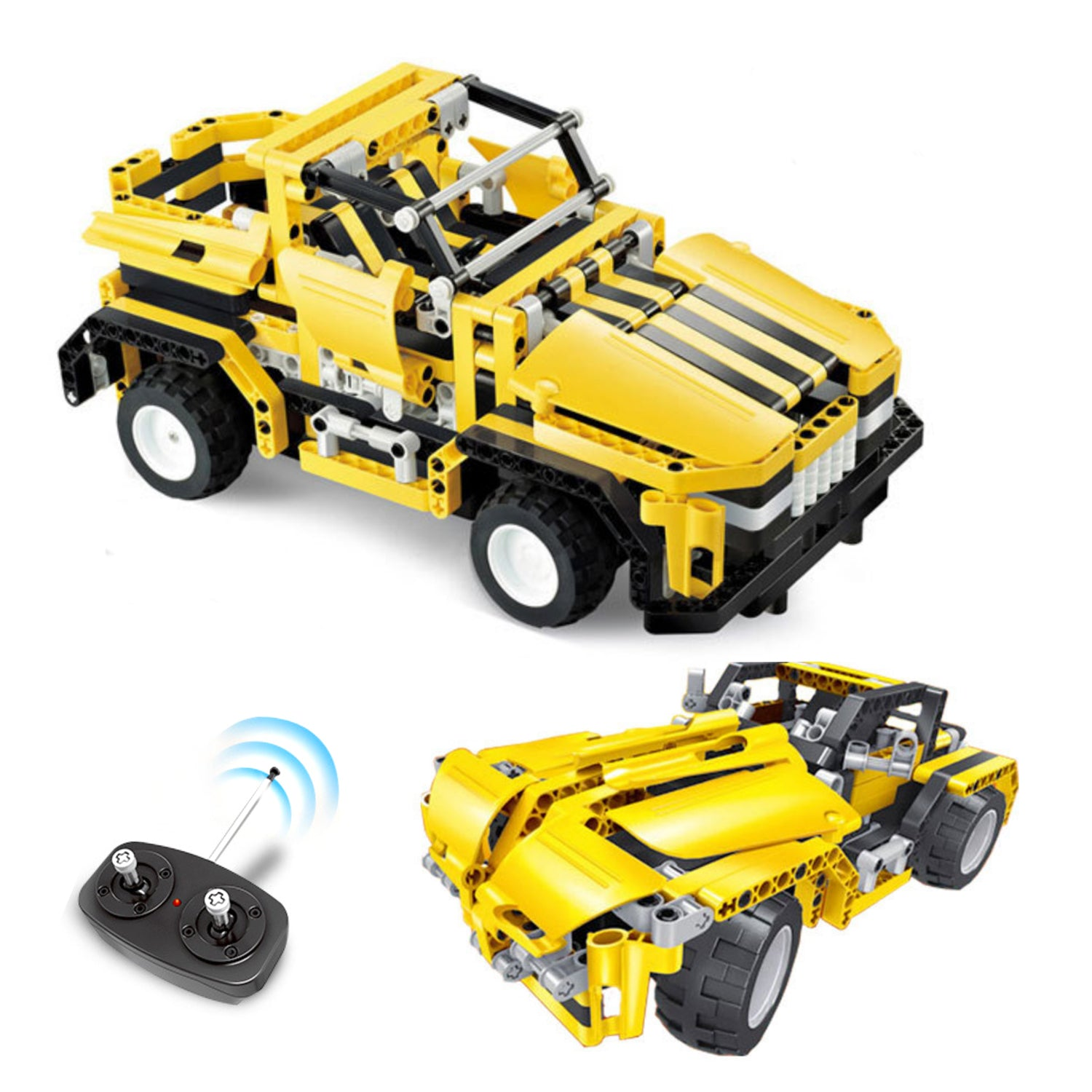 Remote Control Yellow Jeep Building Set